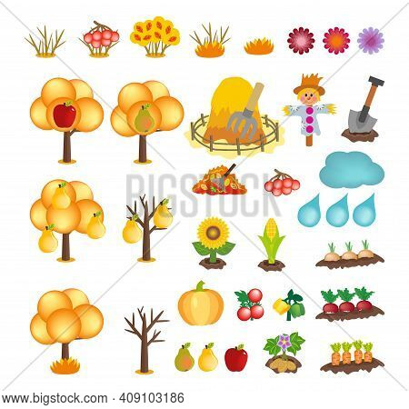 Set Of Kids Cartoon Autumn Icons Isolated On White Background. Vector Cliparts Of Yellow Trees And B
