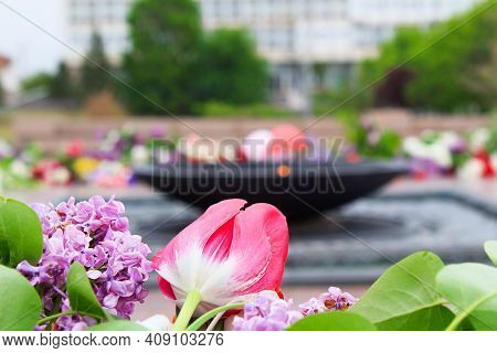 International Day Of Remembrance Of Those Who Died In Wars And Fascism. May 9 Victory Day. Flowers A