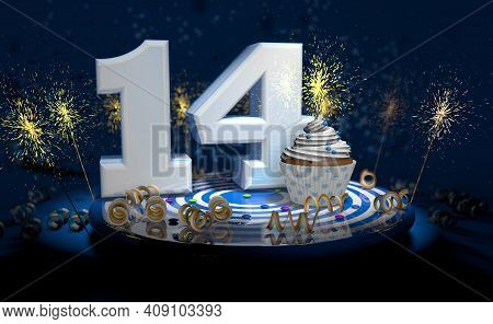 Cupcake With Sparkling Candle For 14th Birthday Or Anniversary With Big Number In White With Yellow