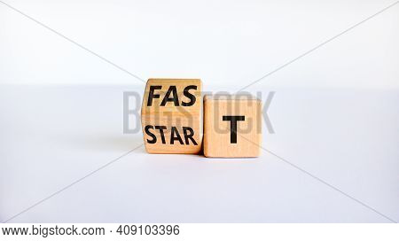 Time To Fast Start Symbol. Turned A Wooden Cube With Words 'fast Start'. Beautiful White Table, Whit