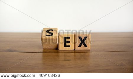 Sex With An Ex Symbol. Turned A Cube And Changed The Word 'ex' To 'sex'. Beautiful Wooden Table, Whi