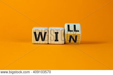 We Will Win Symbol. Turned Cubes And Changed The Word Will To Win. Beautiful Orange Background, Copy