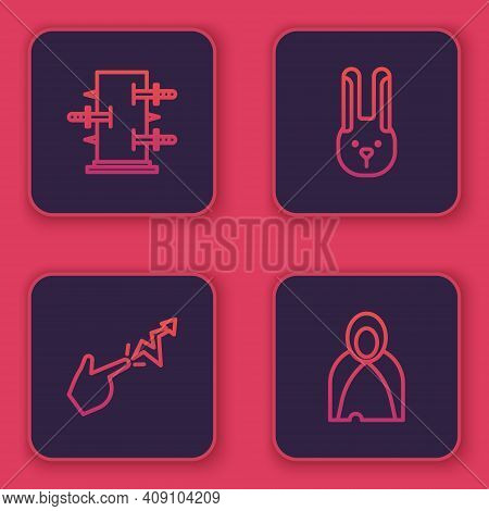 Set Line Trunk For Magic Tricks, Spell, Rabbit With Ears And Mantle, Cloak, Cape. Blue Square Button