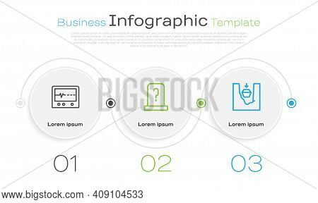Set Line Beat Dead In Monitor, Grave With Tombstone And Coffin Grave. Business Infographic Template.