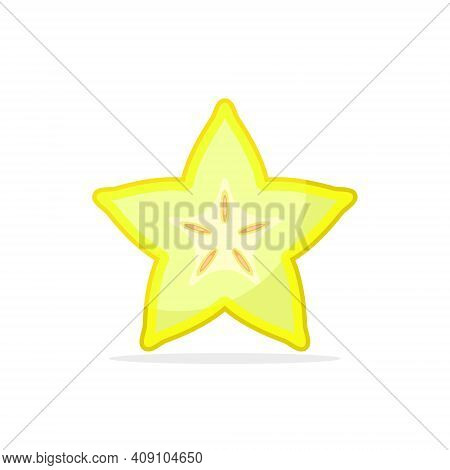Carambola Star Fruit Cutted Color Icon. Isolated Carambola On White Background.