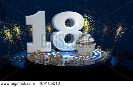 Cupcake With Sparkling Candle For 18th Birthday Or Anniversary With Big Number In White With Yellow