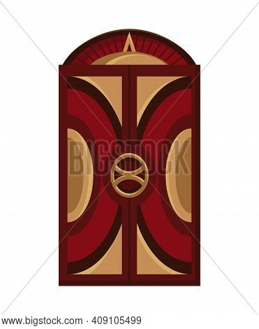 Lift Mechanism In Cartoon Style. Modern Elevator Made In Old Vintage Style. Cabins Of Mechanical Lif