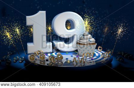 Cupcake With Sparkling Candle For 19th Birthday Or Anniversary With Big Number In White With Yellow