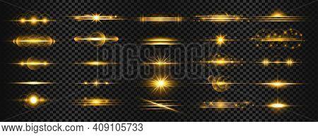 Set Of Golden Transparent Light Lens Flares Streaks Vector Design Illustration