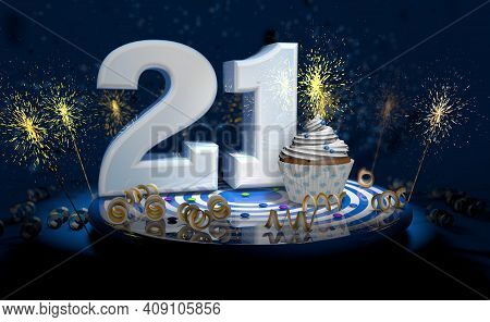 Cupcake With Sparkling Candle For 21th Birthday Or Anniversary With Big Number In White With Yellow