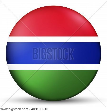 Glass Light Ball With Flag Of Gambia. Round Sphere, Template Icon. Gambian National Symbol. Glossy R