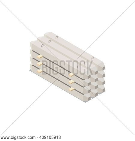 Concrete Cement Production Isometric Composition With Ready Goods For Construction Needs Vector Illu