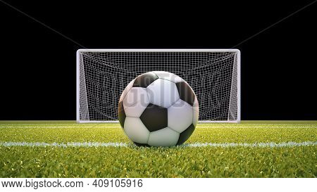 Soccer Ball And Goal Net With Lawn And Black Background With Clipping Mask Included. 3d Illustration