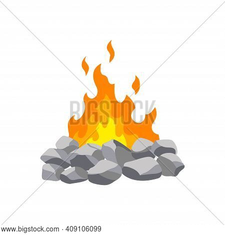 Fireplace Campfire. Burning Fire Travel And Adventure Symbol. Vector Bonfire Or Woodfire In Cartoon