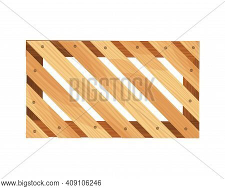 Wooden Pallet. Platform For Freight Transportation. Warehouse Platform On White Background. Cartoon