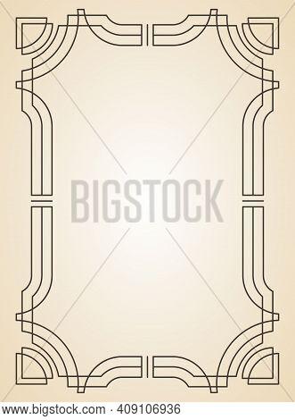 Decorative Frame Or Border Standard Rectangle Proportions Background. Vintage Design Element. Ornate