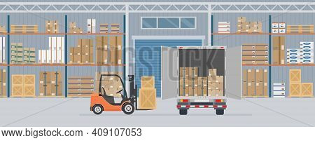 Delivery Truck And Forklift Truck In Warehouse Hangar Interior. Warehouse Equipment, Cargo Delivery,