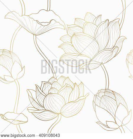 Luxury Lotus Seamless Wallpaper Design Vector, Gold Lotus Line Flowers Seamless Pattern For Packagin