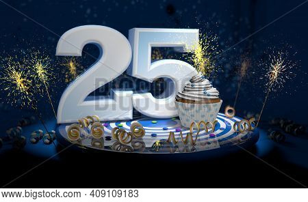 Cupcake With Sparkling Candle For 25th Birthday Or Anniversary With Big Number In White With Yellow