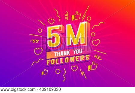 Thank You 5 Million Followers, Peoples Online Social Group, Happy Banner Celebrate, Vector