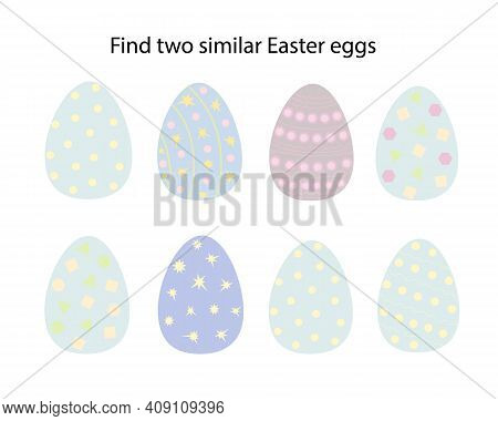 Find Two Similar Easter Eggs Educational Activity For Children, Easter Chicken Educational Game, Sim
