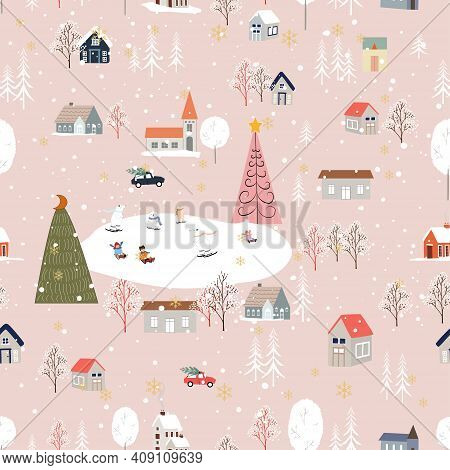 Seamless Pattern Cute Christmas Landscape In The Town With Fairy Tale Houses,car,polar Bear Playing