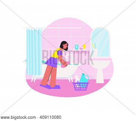 Spring Cleaning Flat Composition With Doodle Style Human Characters Performing Home Cleanup Vector I