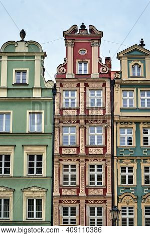 Facades Of Historic Tenements On The Market Square In Wroclaw