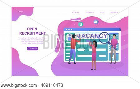 Male And Female Characters Are Making Recruitment Website On Screen. Concept Of Announcement For New