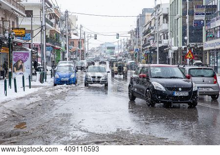 Snow On The Streets Of Athens, Greece, 15th Of February 2021.
