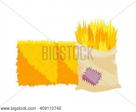 Golden color bale of hay. Bale of hay or straw isolated on white background. Bag of hay. Flat dried haystack, farming haymow bale hayloft, agricultural rural haycock