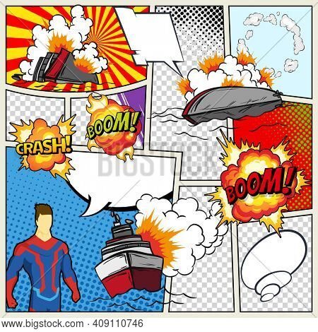 Template comic book page with warships. retro background mock-up. Comic book page divided by lines with speech bubbles superhero and sounds effect. Pop art ships that explode