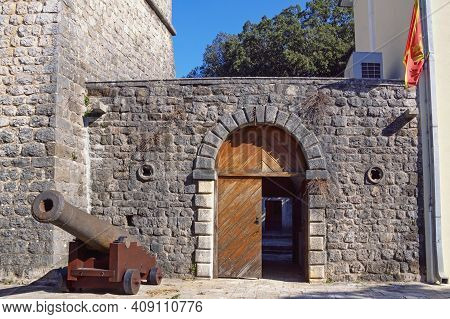 Montenegro, Tivat City. Medieval Summer House Of The Buca Family.  Entrance Door