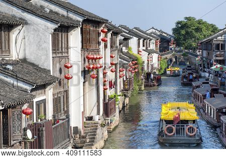 Suzhou, China. September 26, 2015. Tourists Boats On A Canal In The Seven Mile Long Shantang Scenic