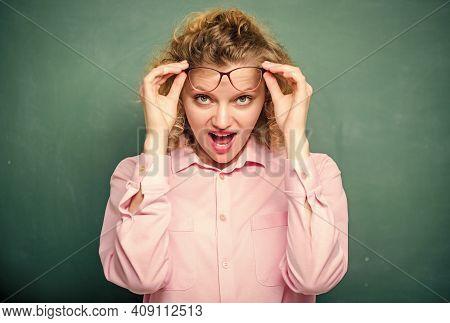 Here You Are. Back To School. Empty Blackboard. New School Year. Girl Prepare For Exams. Girl Teache