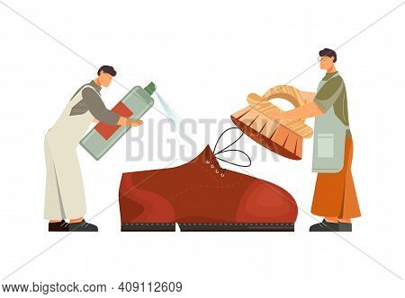 Footwear Designer Shoemaker Shop Flat Composition With Pair Of Workers Taking Care Of Shoe Vector Il