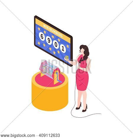 Isometric Fortune Lottery Win Composition With Isolated Image Of Pretty Woman With Lottery Drum Vect