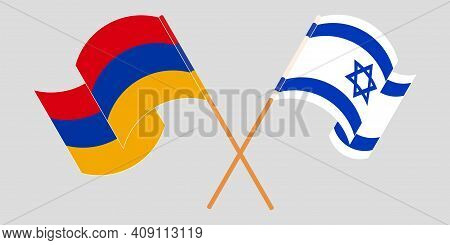 Crossed And Waving Flags Of Armenia And Israel. Vector Illustration