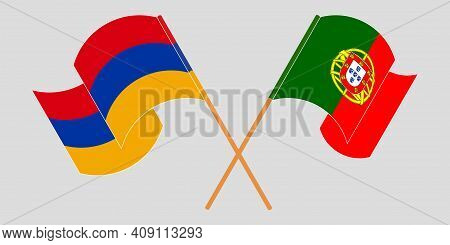 Crossed And Waving Flags Of Armenia And Portugal. Vector Illustration