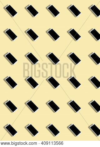A Pattern With A Whia Pattern With A White Smartphone On A Beige Background. Background Of Gadgets.