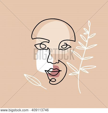 Continuous Line Hand Drawing Of Female Face With Leaves, Fashion Concept, Woman Beauty Minimalist Wi