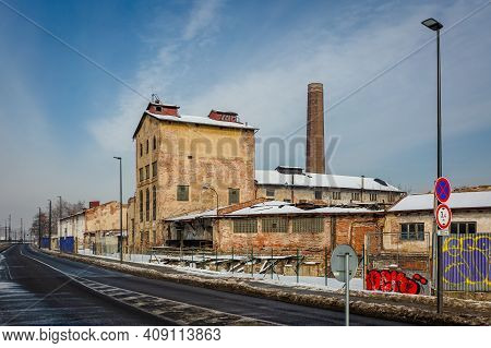 Prague, Czech Republic - February 16 2021: Former Distillery Called Lihovar, A Ruined Building Made