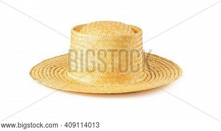 Yellow Wide Brim Straw Hat Isolated On White Background. Summer Female Vintage Classic Headwear. Sty