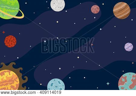 Space Background. Abstract Planets, Universe, Cosmos, Interstellar Travels. Vector Illustration.