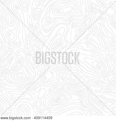 Line Topographic Map Seamless Pattern. Vector Background