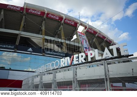 Buenos Aires, Argentina - January, 2020: Home Stadium Of Football Club River Plate In Buenos Aires.