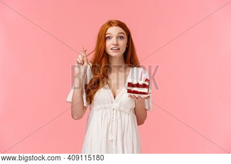 Wishful Cute And Tender, Alluring Redhead Girl In White Dress, Celebrating Birthday, Cross Finger Go