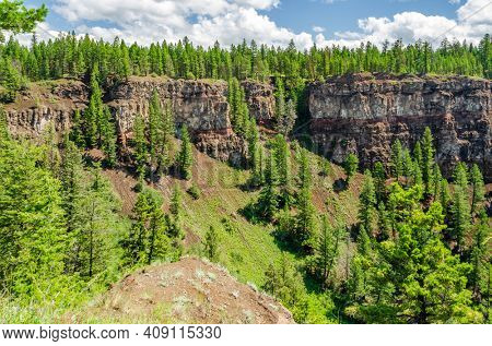 Fragment of fantastic view from the trail at Chasm Canyon in British Columbia, Canada.