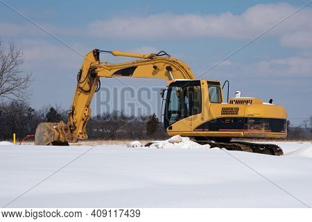 Excavator In The Snow Yellow Winter Sky Big