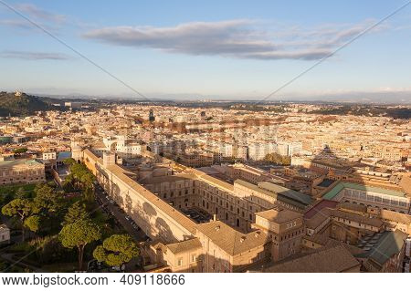 Rome Aerial View During Sunny Day, Roma. Italian Landscape